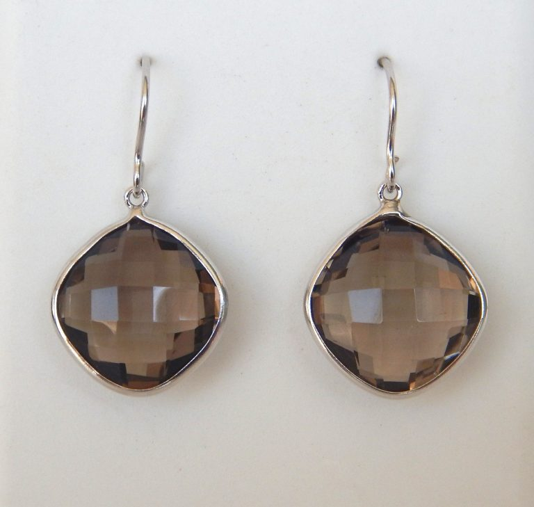 white gold smokey quartz dangle earrings