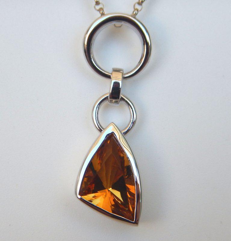 sterling silver smokey quartz pendant