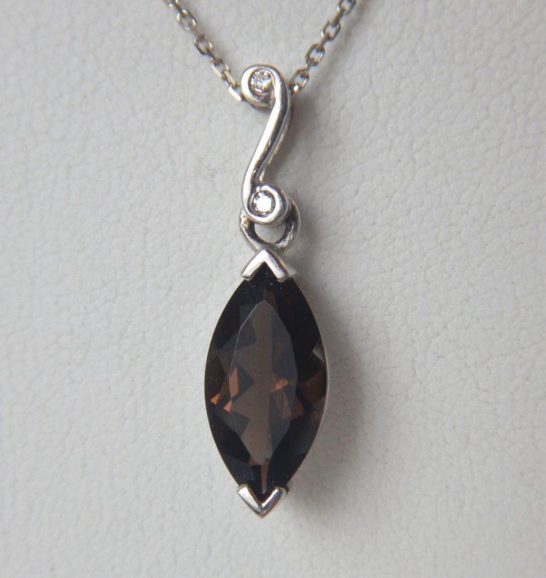 white gold smokey quartz pendant