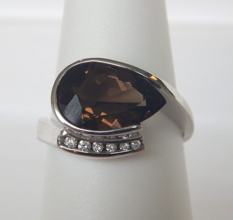 white gold smokey quartz and diamond ring
