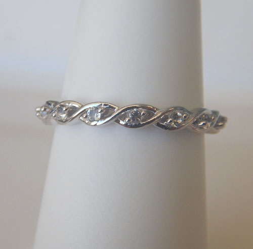 sterling silver white topaz band