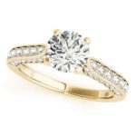 yellow gold channel set diamond engagement ring