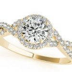 yellow gold split shank diamond engagement ring