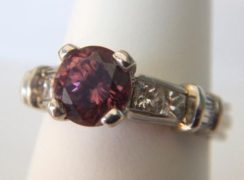white gold pink zircon and diamond ring