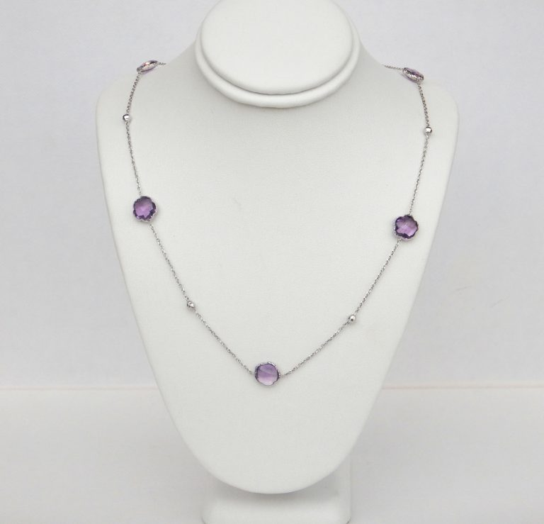 amethyst and white gold ball station necklace