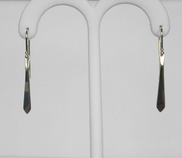 yellow gold tapered dangle earrings