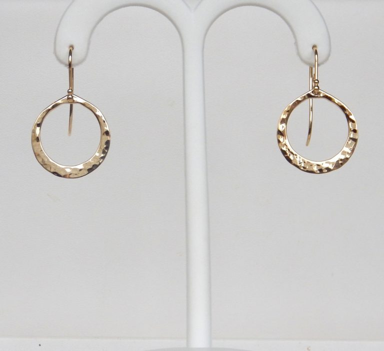 yellow gold circle dangle earrings