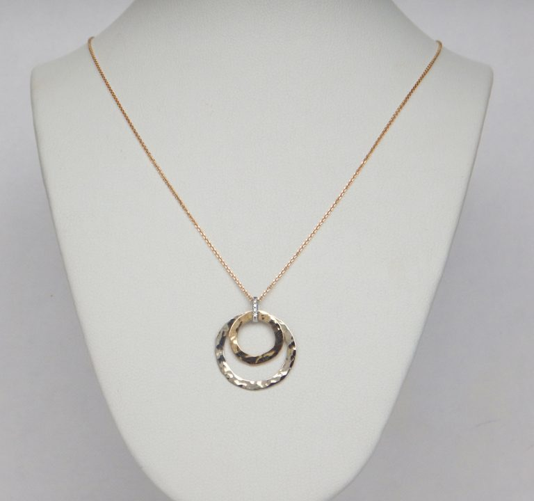 circular two-tone gold and diamond bail necklace