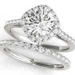 diamond halo engagement ring with matching wedding band