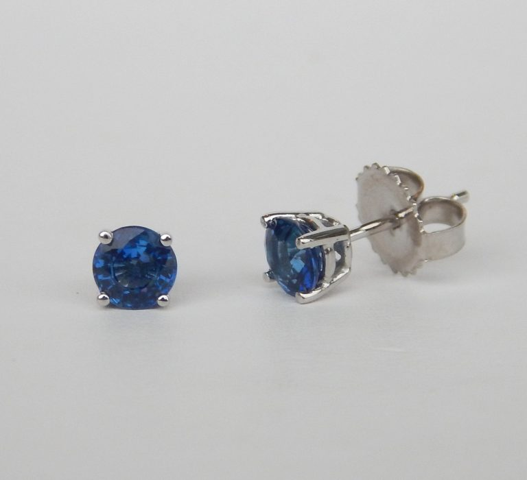 sapphire studs in a white gold setting