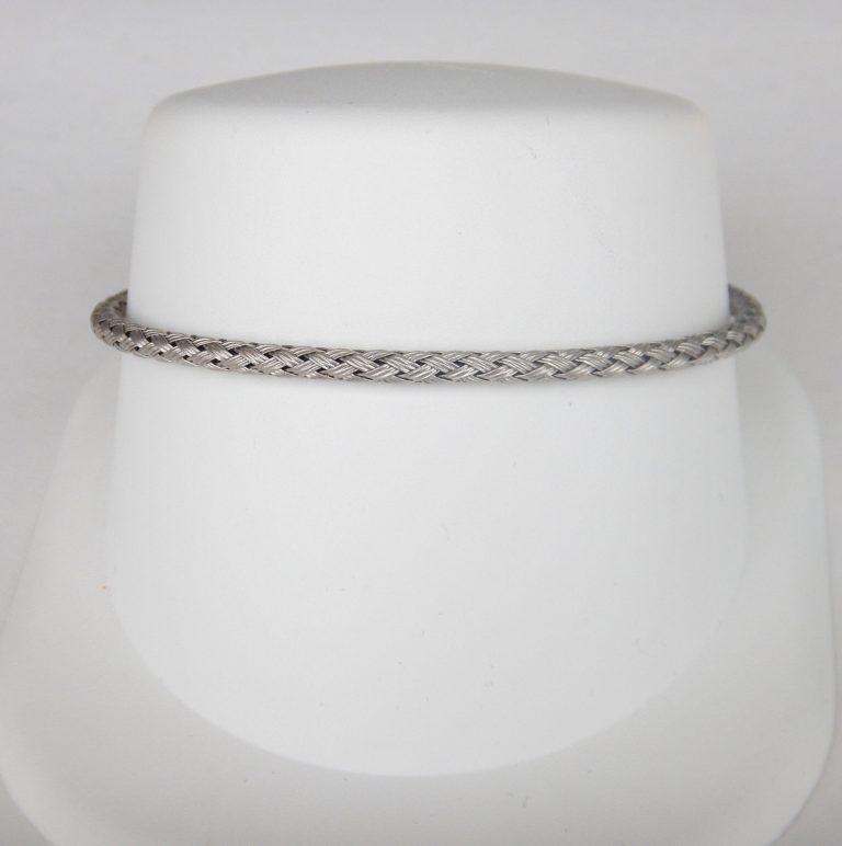 white gold braided bangle bracelet