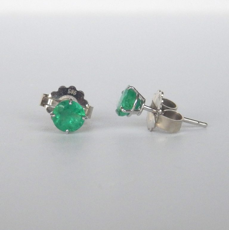 white gold emerald stud earrings