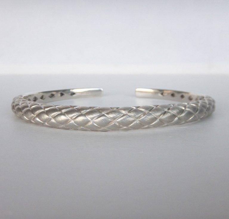 sterling silver textured cuff bracelet