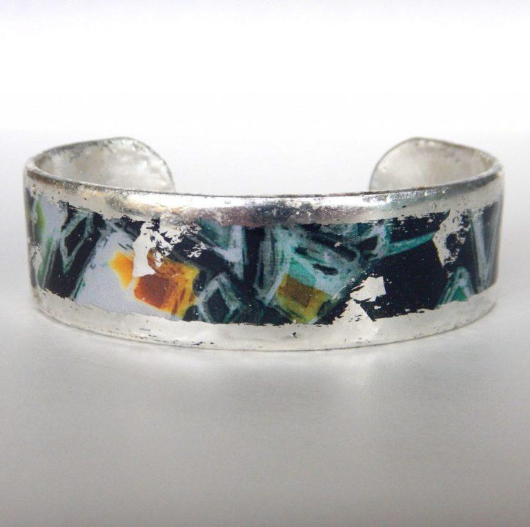 silver cuff bracelet with contemporary design
