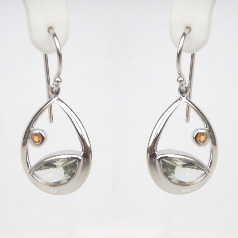 sterling silver dangle earrings with a green amethyst on the bottom and a citrine on the side