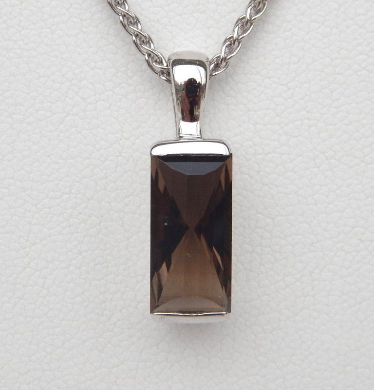rectangular cognac quartz pendant in white gold setting