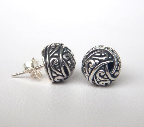 sterling silver stud earrings with intricate design