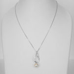 white gold akoya pearl pendant on chain