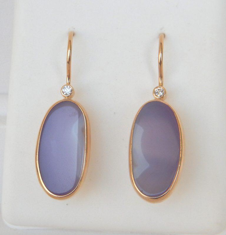 yellow gold aqua agate and diamond dangle earrings