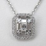 baguette diamond pendant with diamond halo