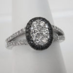 white gold black and colorless diamond ring