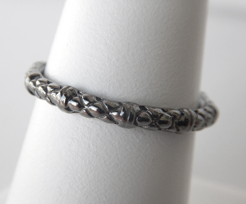 sterling silver black plated cable ring