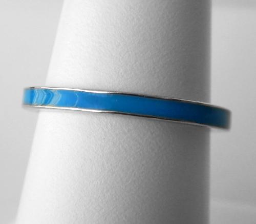 sterling silver blue enameled band
