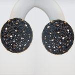 black sterling silver button earrings