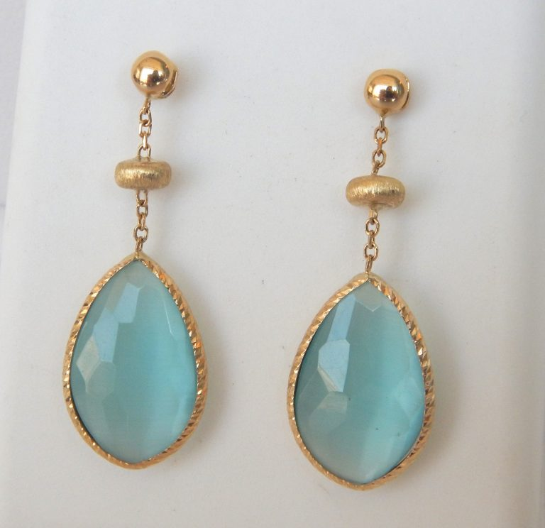 yellow gold chalcedony dangle earrings