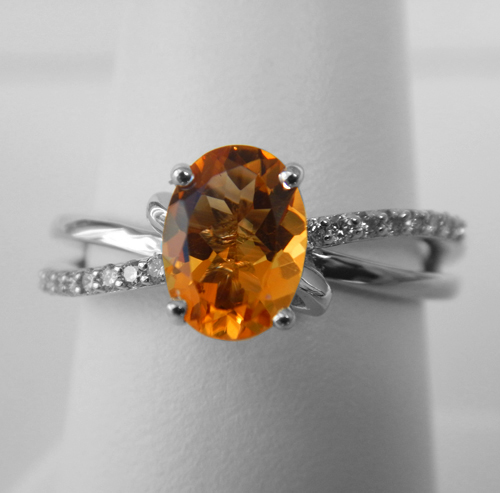 white gold oval citrine and diamond accented ring
