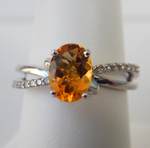 citrine ring with diamond twist shank in white gold