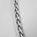 close up view of braided sterling silver necklace