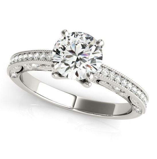 diamond accented engagement ring with milgrain edges