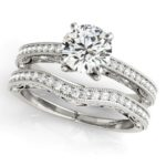 diamond accented engagement ring with wedding band