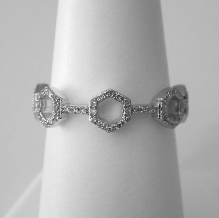 white gold diamond hexagon fashion ring