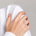 white gold diamond fashion ring on finger