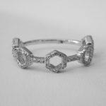 white gold diamond hexagonal fashion ring