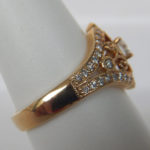 side view of yellow gold diamond ring
