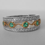 two tone gold emerald and diamond ring