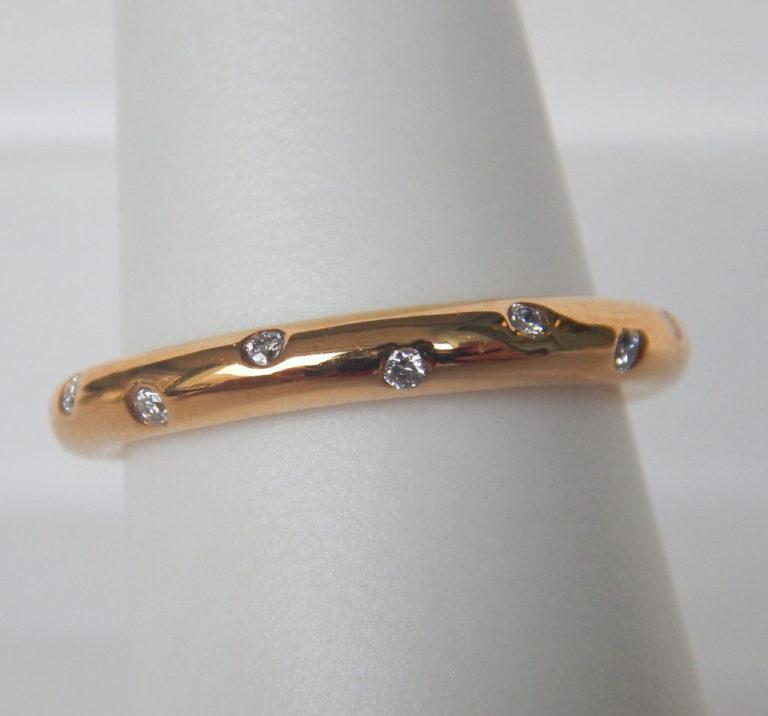 rose gold flush set diamond band