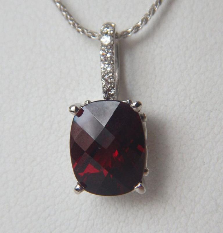 white gold garnet pendant with diamond bail