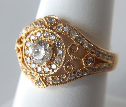yellow gold diamond antique ring