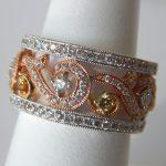 three tone gold diamond ring