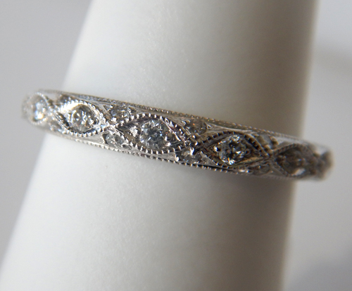antique style diamond band in white gold