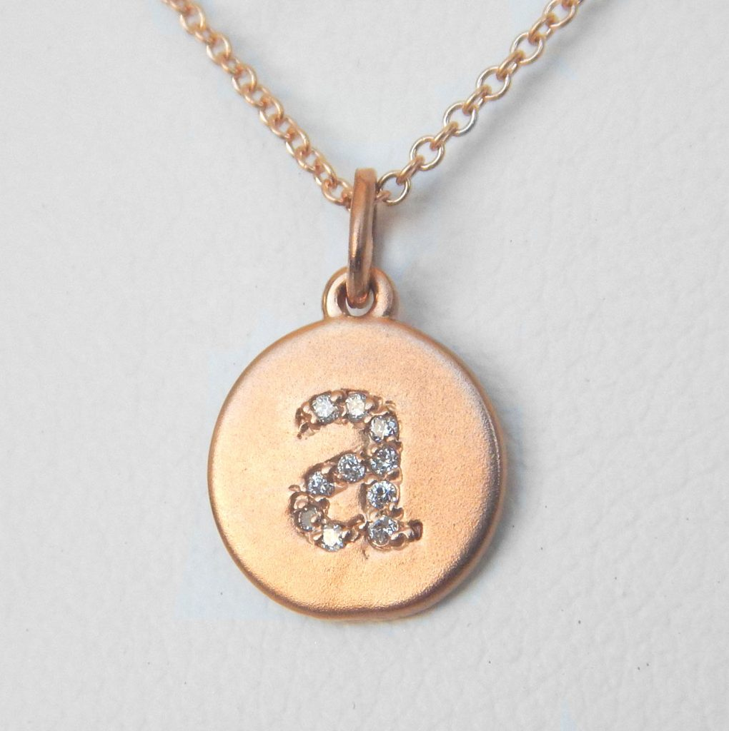 Initial charm pendant letter a kloiber jewelers rose gold diamond initial pendant aloadofball Image collections