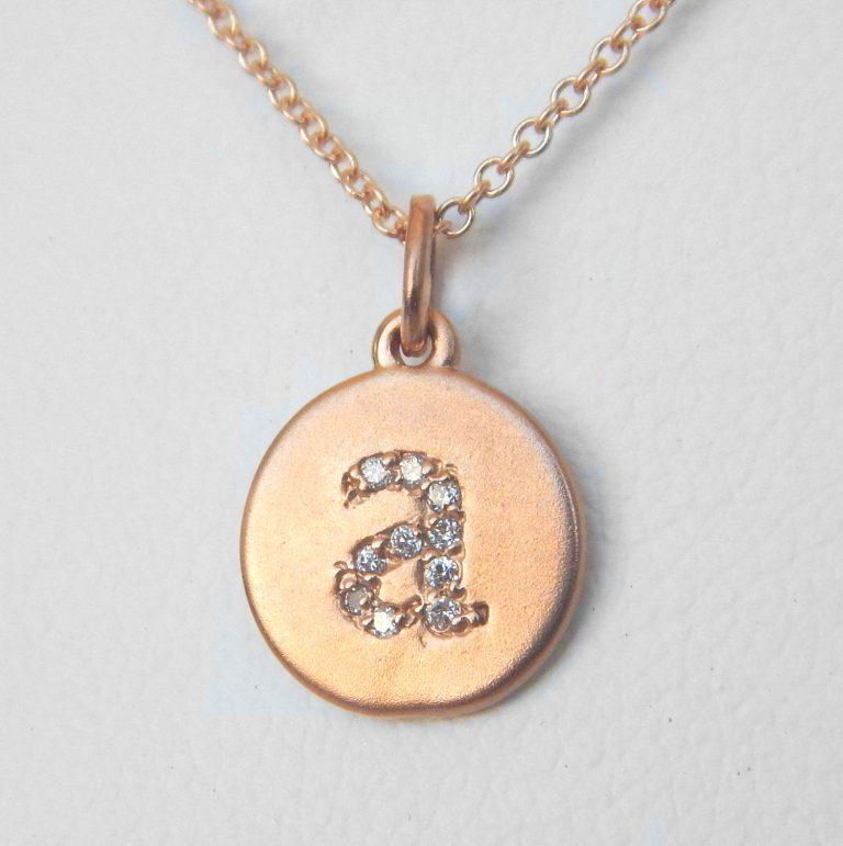 rose gold diamond initial pendant