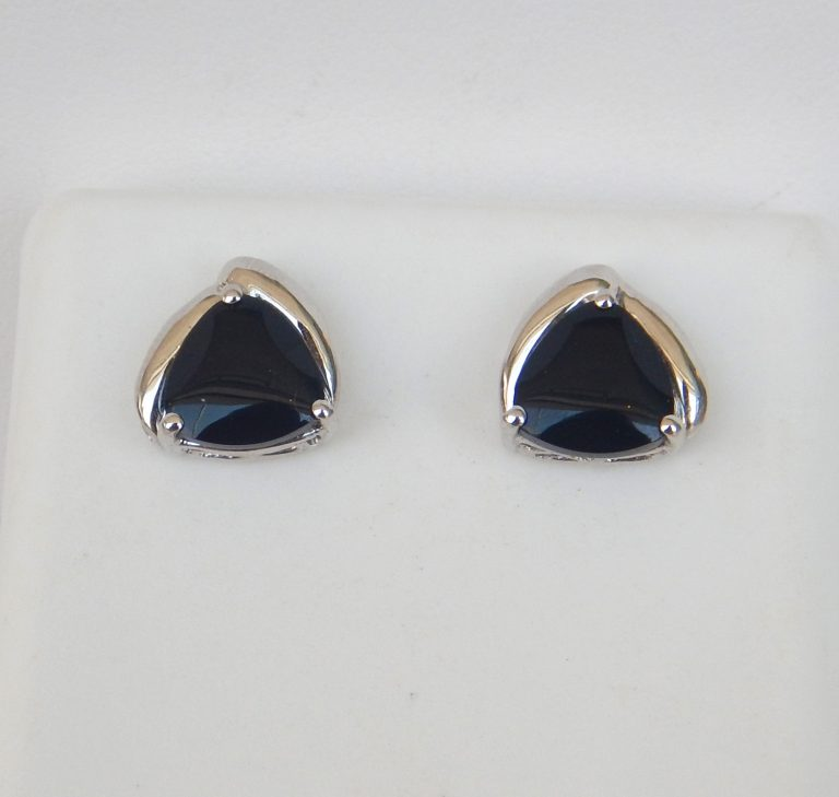 black onyx studs in white gold setting
