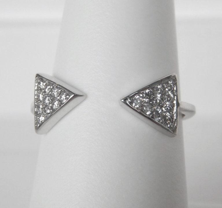 white gold open diamond triangular cluster ring