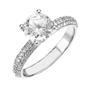 pave set diamond engagement ring