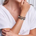 pearl bangle wire bracelet on wrist